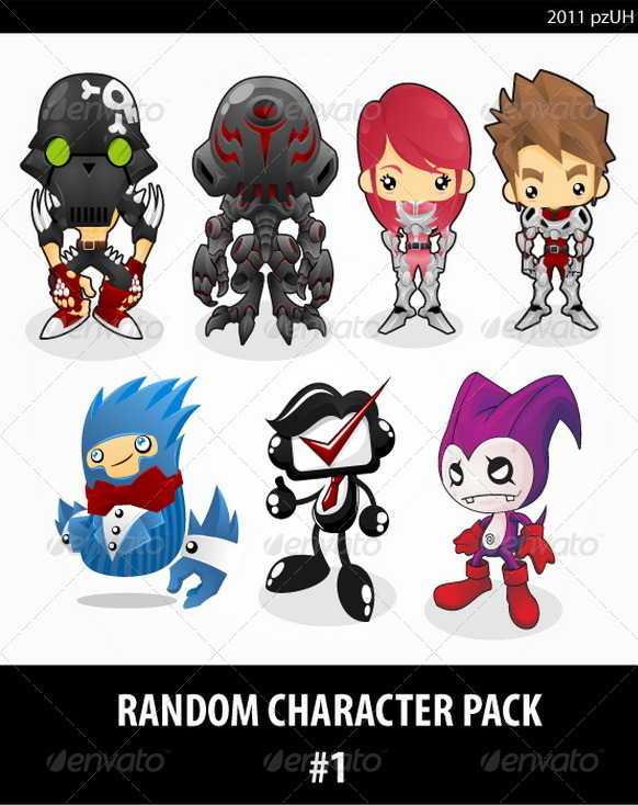 Graphic River Random Character pack #1 Vectors -  Characters 739326