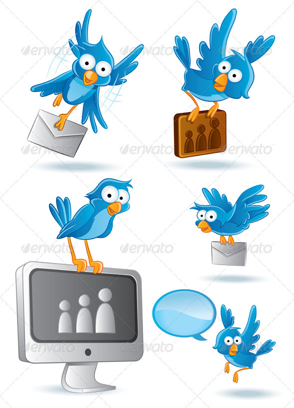 Graphic River Social Media Network Bluebird Set Vectors -  Conceptual  Technology  Communications 739346