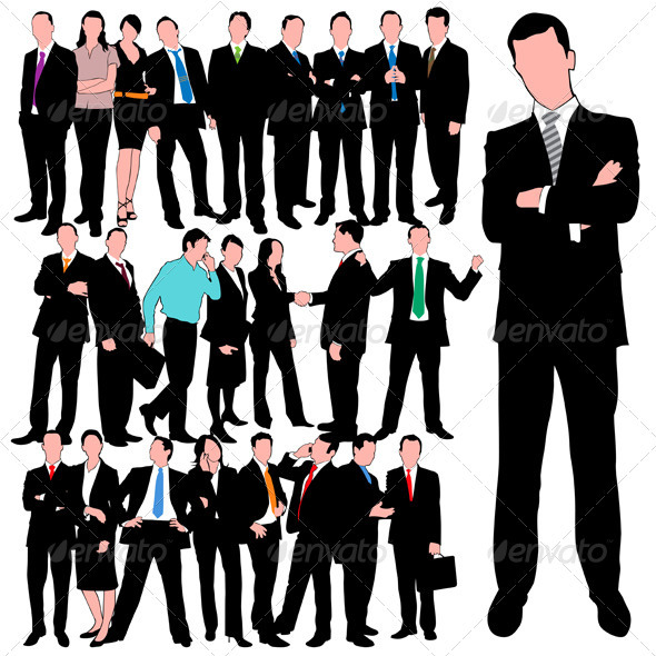 Graphic River 25 Business People Silhouettes Set Vectors -  Characters  People 739348