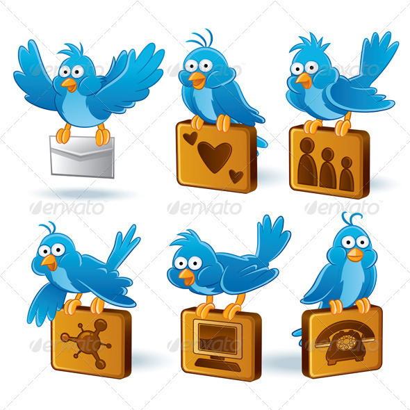 Graphic River Social Media Network Bluebird Set Vectors -  Conceptual  Technology  Communications 739349