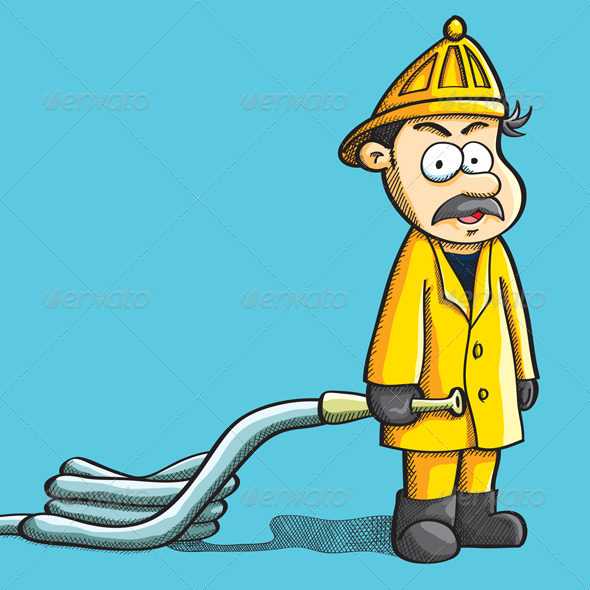 Graphic River Fireman Holding Hose Vectors -  Characters  People 740579