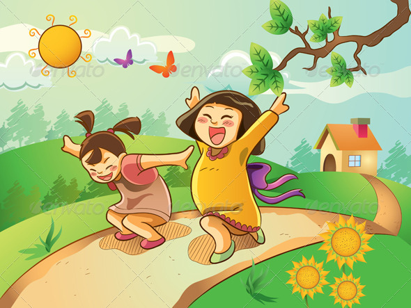Graphic River Happy Kids Playing in The Garden Vectors -  Characters  People 740615