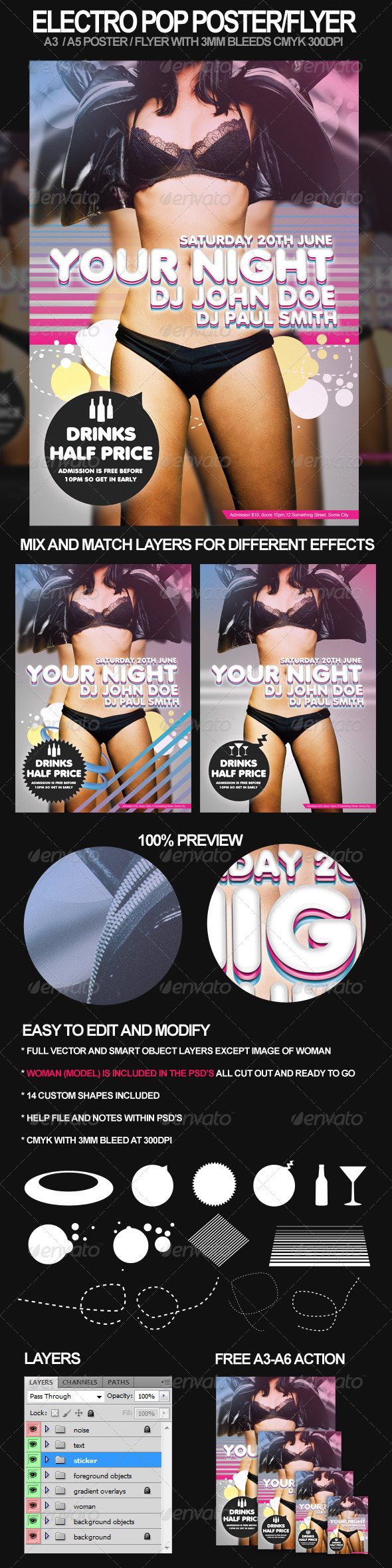 Graphic River Electro Pop A3 Poster and A5 Flyer Print Templates -  Flyers  Events  Clubs & Parties 720638