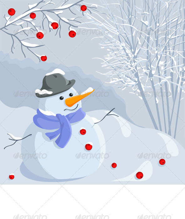 Graphic River Vector Christmas winter snowman with a landscape Vectors -  Conceptual  Seasons/Holidays  New Year 742394