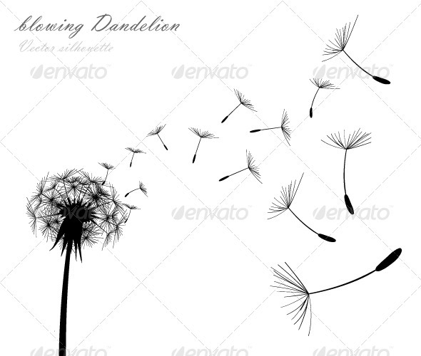 Graphic River Blowing Dandelion Vectors -  Conceptual  Nature  Flowers & Plants 742477
