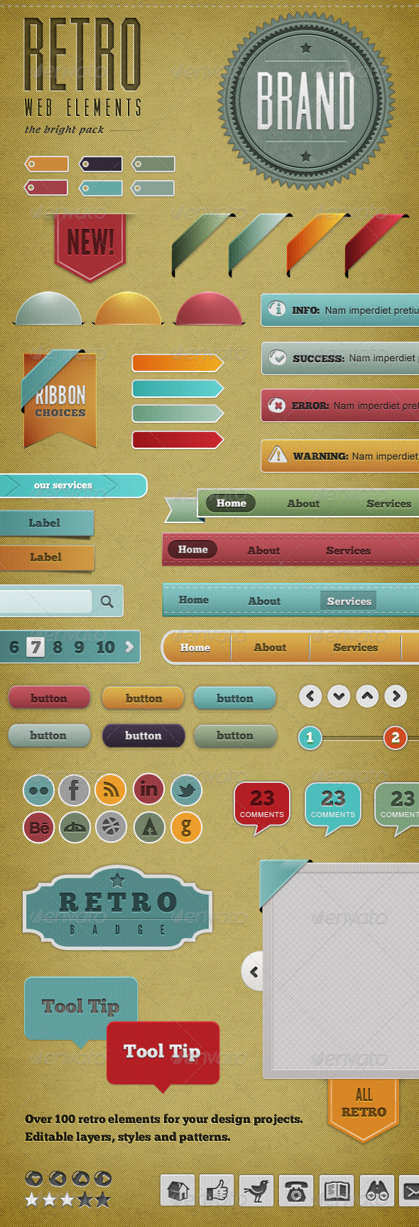 Graphic River Retro Web Elements Bright Pack Web Elements -  Miscellaneous 743187