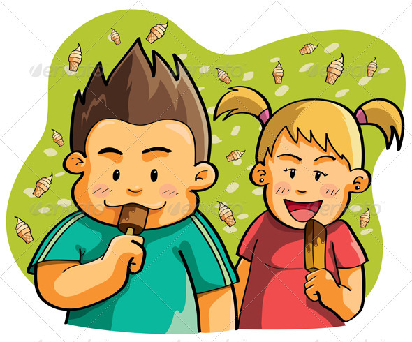 Graphic River Kids Eating Ice Cream Vectors -  Characters  People 744185