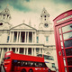 St Paul's Cathedral, red bus, telephone booth. Symbols of London, UK. Vintage - PhotoDune Item for Sale