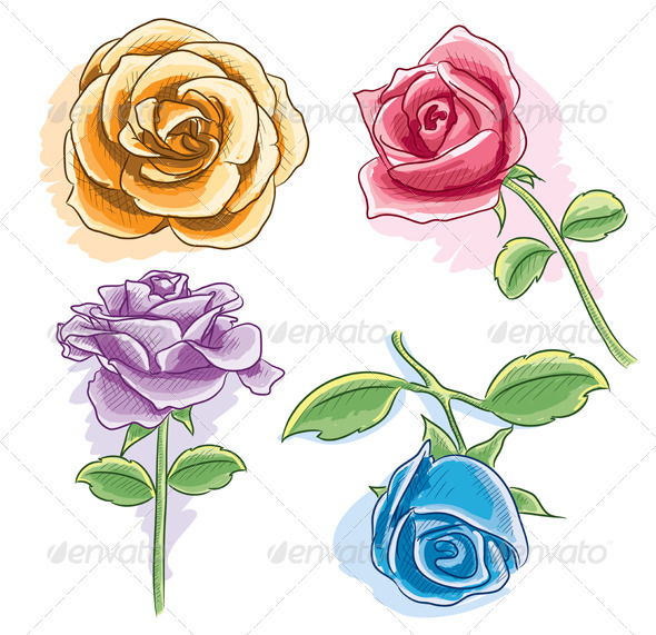 Graphic River Watercolor Rose Vectors -  Objects  Organic objects 745454