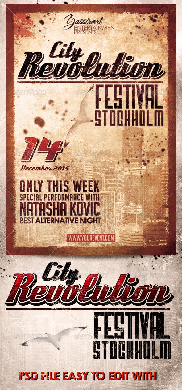 GraphicRiver City Revolution Festival Flyer Template 7086607