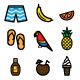 15 Tropical Icons - GraphicRiver Item for Sale