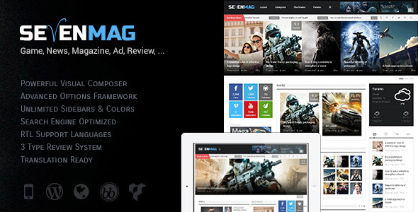 ThemeForest SevenMag Blog Magzine Games News Wordpress Theme 7114090