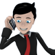 Business Man Mascot with Smart Phone 1 - GraphicRiver Item for Sale