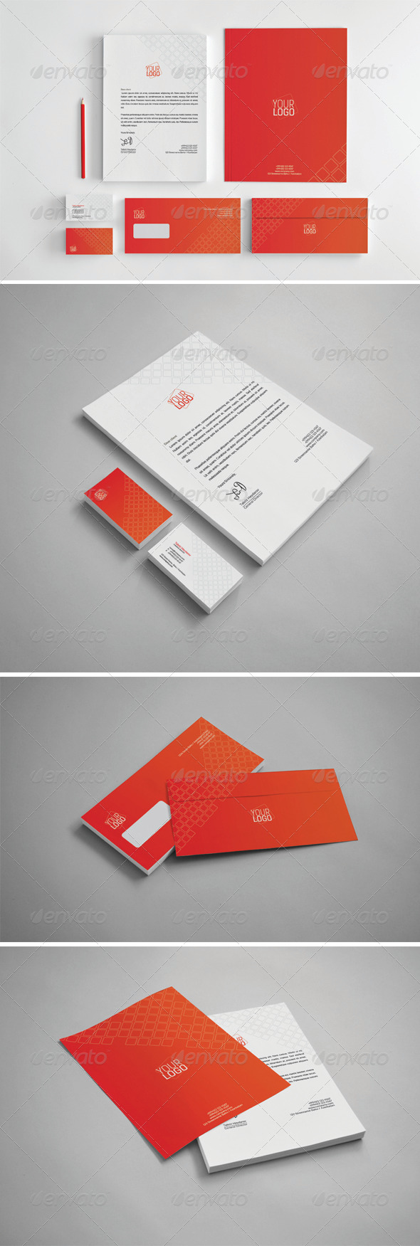 GraphicRiver Red Cubes Stationery 7127246