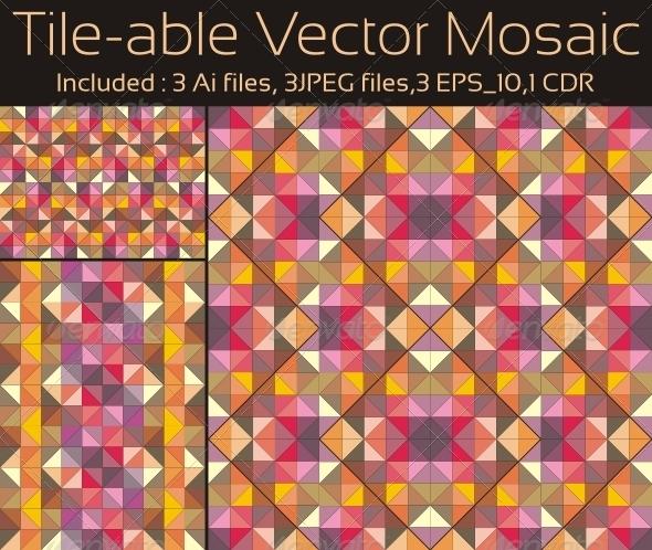 Graphic River Tile-able Vector Mosaic Vectors -  Decorative  Backgrounds 750578