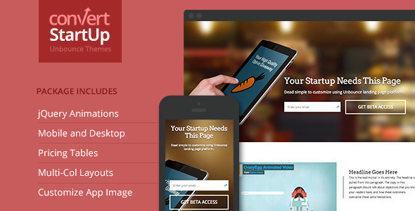ThemeForest Startups Multi-Purpose Unbounce Template 7151827