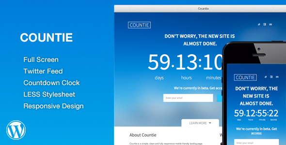 Countie: Fullscreen, Responsive Countdown Landing - 1