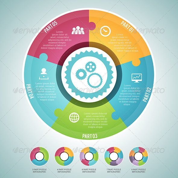 Circle Puzzle Infographic Elements Set - Infographics
