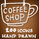 200 Hand Drawn Coffee Icons - GraphicRiver Item for Sale