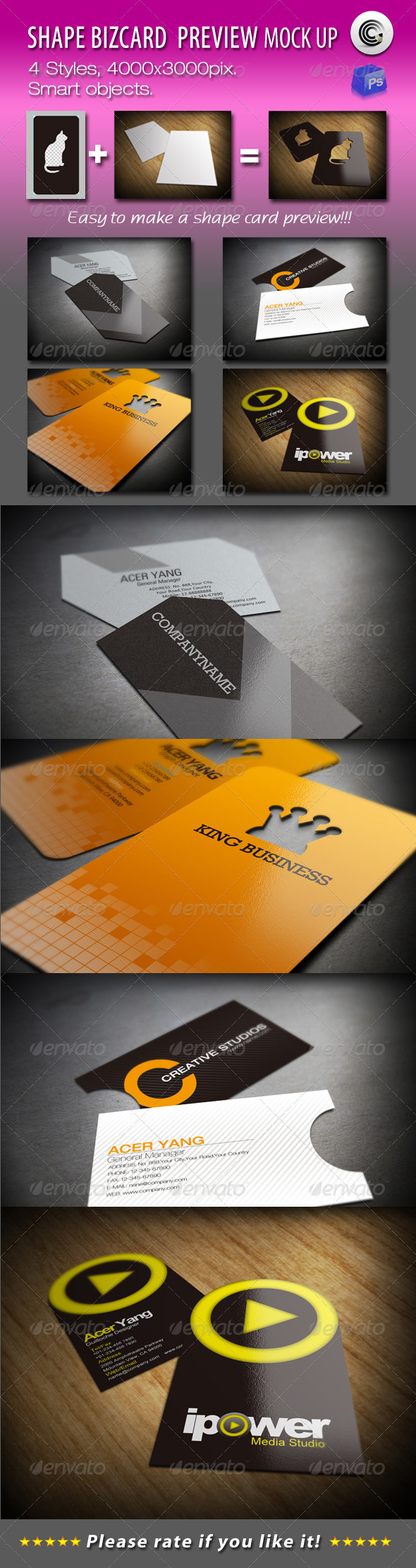 GraphicRiver Shape BizCard Preview Mock-ups 751908