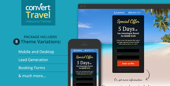 Travel & Tourism Landing Page - Unbounce Template