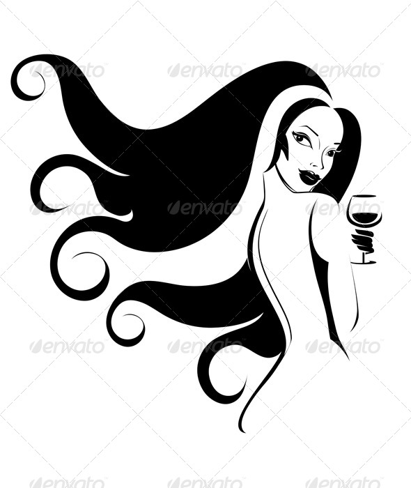 GraphicRiver Woman with a Glass of Wine 7176668
