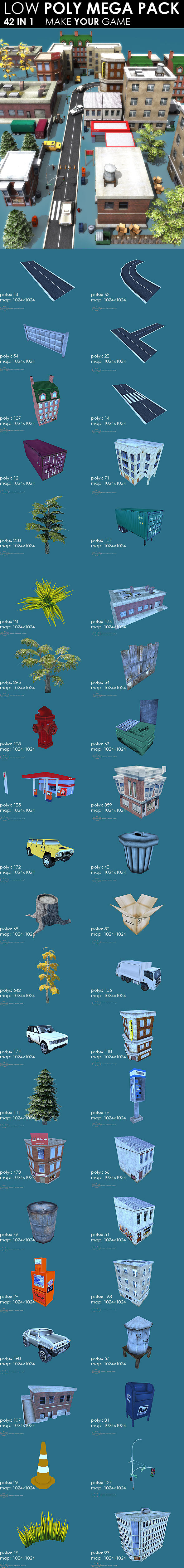 3DOcean Low poly City Megapack 42 models 752954