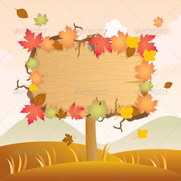 Graphic River Autumn Wood Signage Vectors -  Decorative  Decorative Symbols 753146