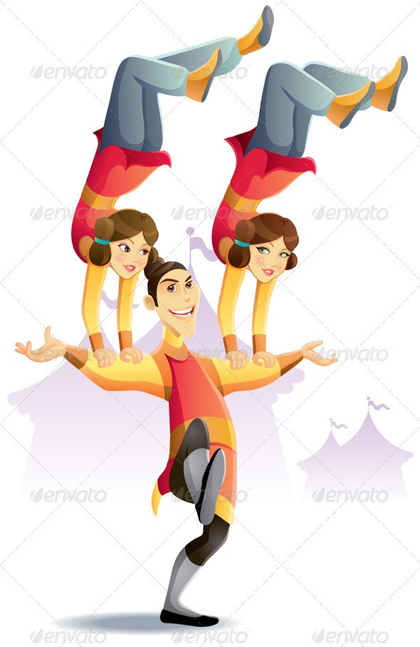 Graphic River Circus Acrobatic Hand Standing Vectors -  Characters  People 753149