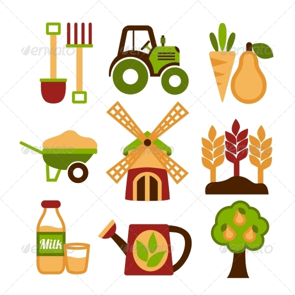GraphicRiver Farming Harvesting and Agriculture Icons Set 7188860