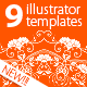 9 Templates For Round Ornament Creation - GraphicRiver Item for Sale