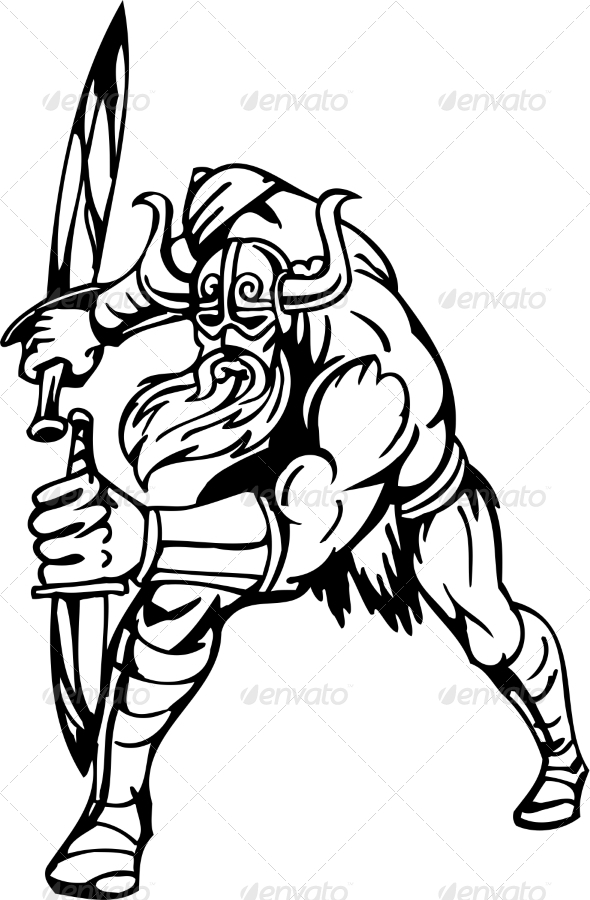 GraphicRiver Nordic Viking Vector Illustration Vinyl-Ready 7193914