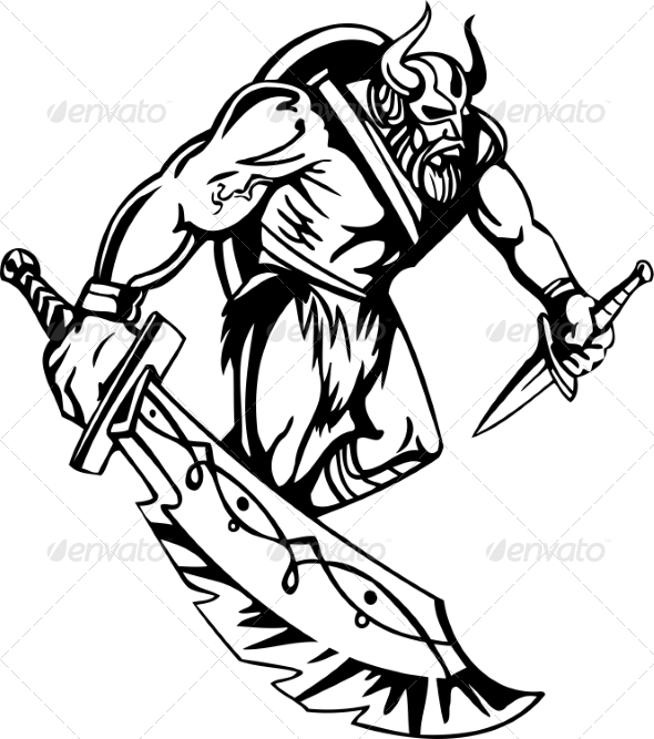 GraphicRiver Nordic Viking Vector Illustration Vinyl-Ready 7193926