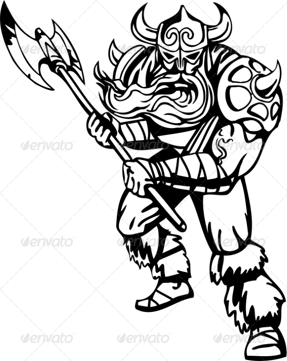 GraphicRiver Nordic Viking Vector Illustration Vinyl-Ready 7193927