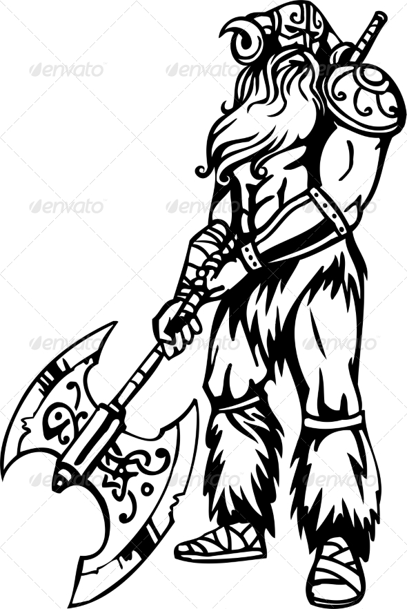 GraphicRiver Nordic Viking Vector Illustration Vinyl-Ready 7193931