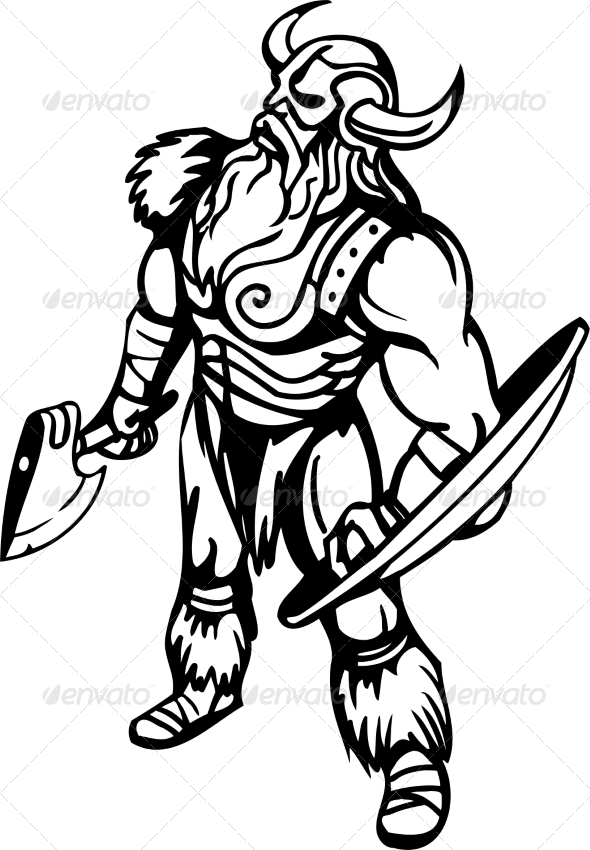 GraphicRiver Nordic Viking Vector Illustration Vinyl-Ready 7193966