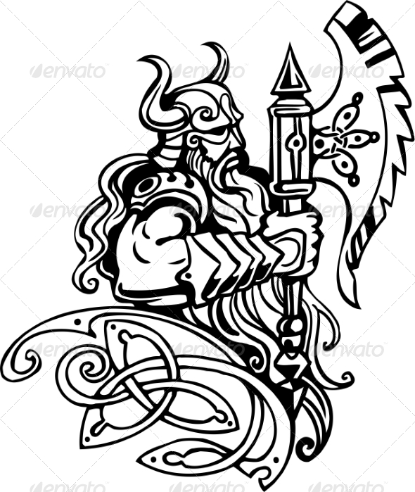 GraphicRiver Nordic Viking Vector Illustration Vinyl-Ready 7193973