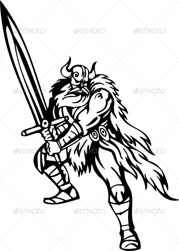 GraphicRiver Nordic Viking Vector Illustration Vinyl-Ready 7193998