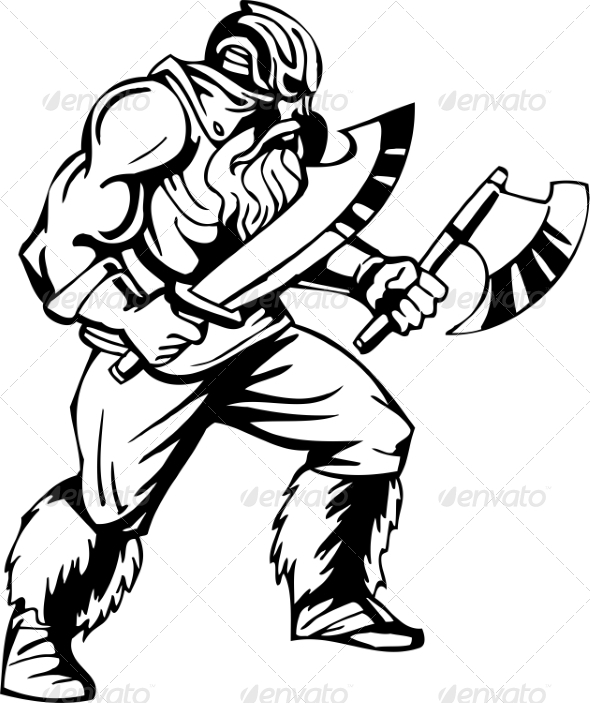 GraphicRiver Nordic Viking Vector Illustration Vinyl-Ready 7194056