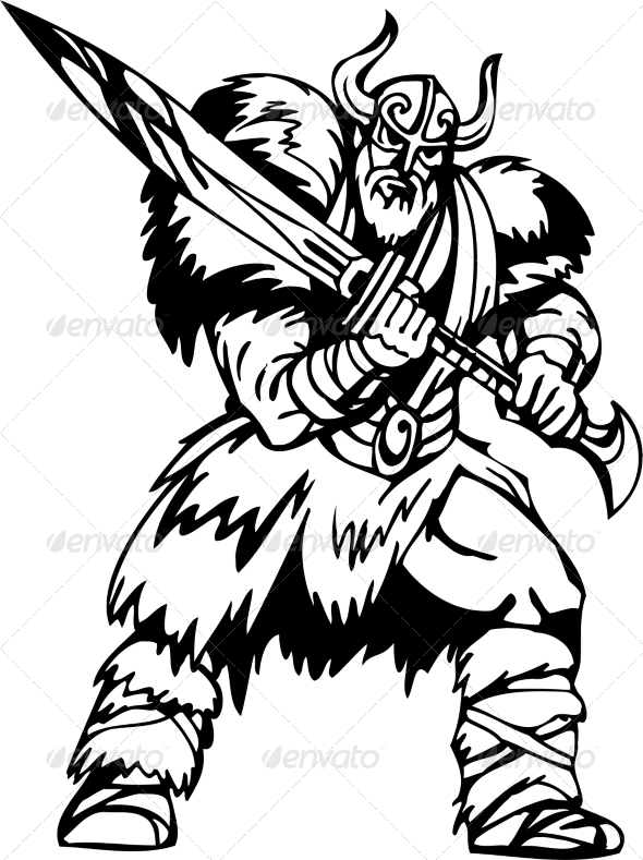 GraphicRiver Nordic Viking Vector Illustration Vinyl-Ready 7194115