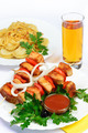 table with food of meat on skewer, dumplings and gass of juice. - PhotoDune Item for Sale