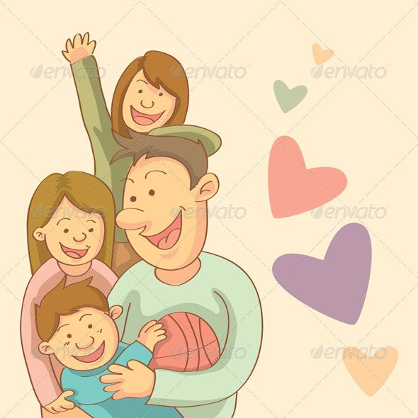 Graphic River Happy Family Vectors -  Characters  People 754494