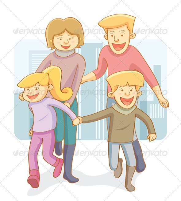 Graphic River Happy Family Vectors -  Characters  People 754627