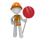 Construction Mascot Dude Holding a Sign - GraphicRiver Item for Sale