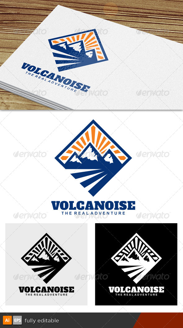 Volcanoise Adventure Logo - Nature Logo Templates