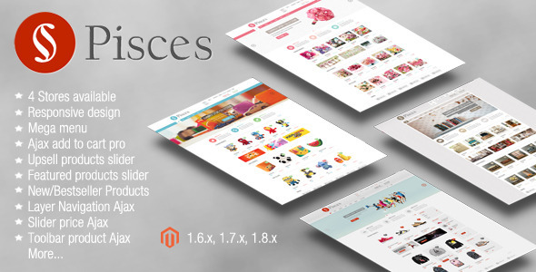 ThemeForest Pisces Multipurpose Responsive Magento Theme 7201084