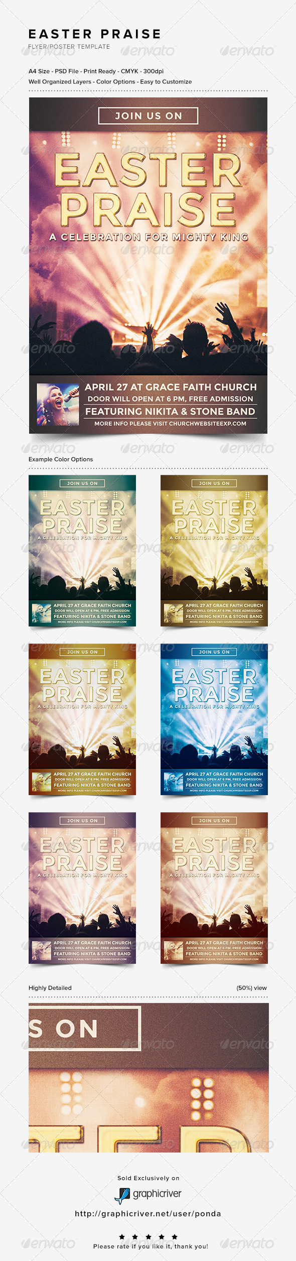 GraphicRiver Easter Praise Flyer Poster Template 7201577