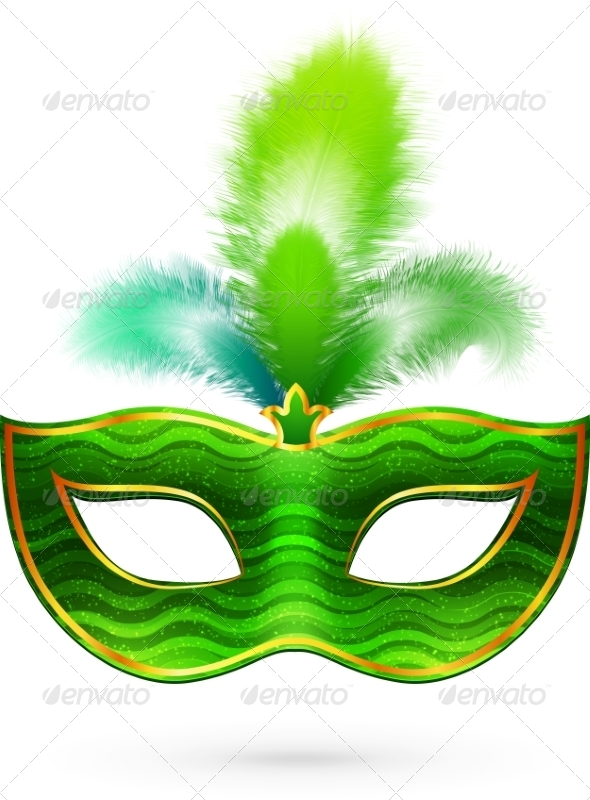 GraphicRiver Green Carnival Mask with Feathers 7201611