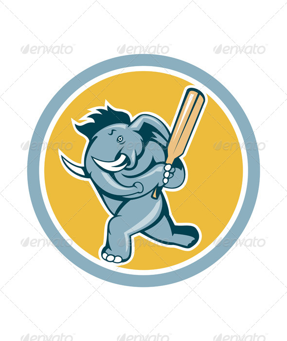 GraphicRiver Elephant Batting Cricket Bat Cartoon 7201640