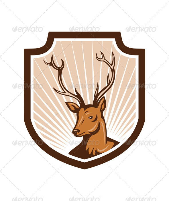GraphicRiver Deer Stag Buck Antler Head Shield 7201649